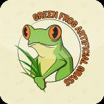 green frog artificial grass icon